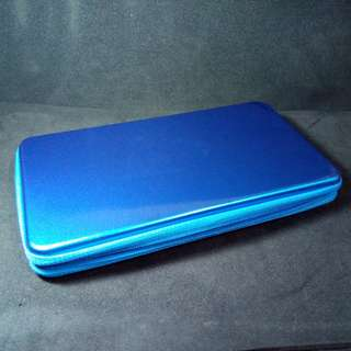Blue Metallic Zipper Stationery Case. New, never used