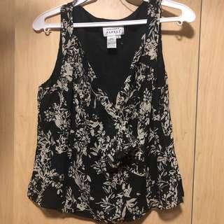 Black Pattern Silk Top