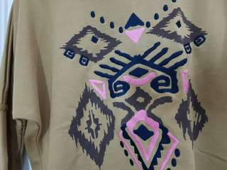 Brown Sweater w/ Tribal/Aztec Embroidery