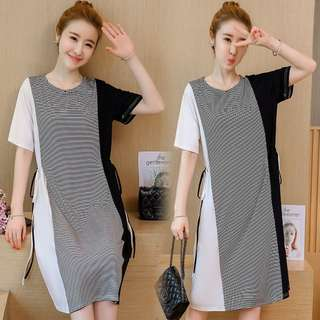 🚚 2018 summer large size women's hit color stitching striped fashion dress