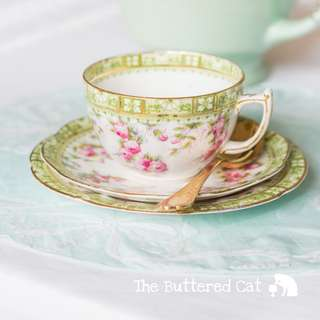 RESERVED Very pretty antique English china tea trio, late Victoria / early Edwardian, hand-decorated pink rose chintz