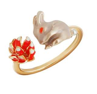 森林童話當刺猬遇上小白兔開口戒指(手繪琺琅彩)