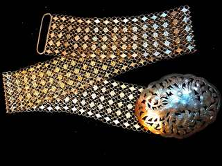 1900's (Early-Mid) Old Straits Settlements Malayan Peranakan Pure Vintage Silver Very Rare Antique Ladies 5-Links Belt.