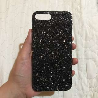 iPhone 7 plus case- BLACK GLITTERS