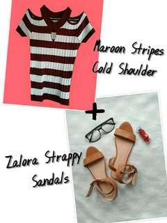Cold Shoulder Top + Zalora Strappy Sandals