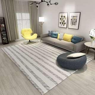 🚚 新北歐客廳地毯臥室黑白灰現代簡約簡歐沙發茶几床邊毯