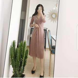 Pink knot velvet dress
