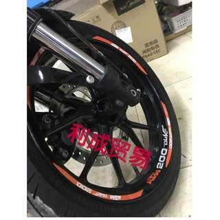 KTM Duke 200 rims inner outer ring edge sticker orange