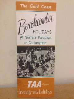 1960's TAA Gold Coast Beachcomber Holiday Price Guide