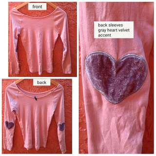 Bnew Light pink longsleeves top (with elbow patch *korean vibe)