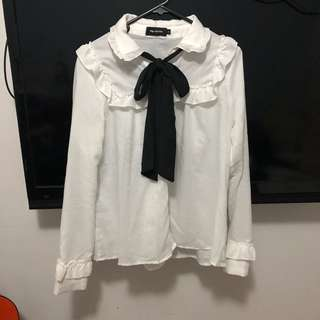 💕Korean style white tie up black bow blouse