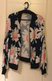 Floral Cotton Bomber Jacket Type