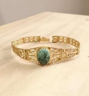 Vintage Jade Cabochon Filigree Bracelet