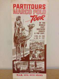 1960's Partitours Marco Poli Tour Travel Guide itinerary pricing