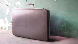 【swallow燕子二手懷舊傢俱】早期 台灣 ECHOLAC 灰色 手提箱 行李箱 旅行箱 道具  [1504006]