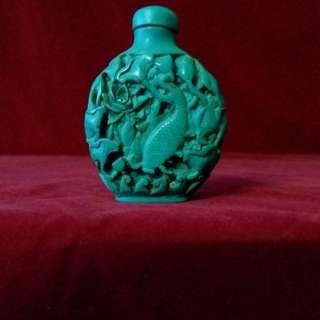 古代綠松石鼻烟壺 - 浮雕鱼乐图