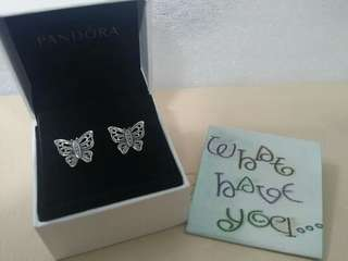 Authentic and Brand New Pandora Vintage Butterfly Silver Earrings