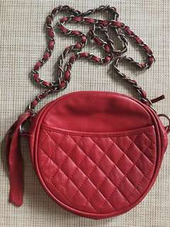 Topshop Round Leather Sling Bag with Metal Strap