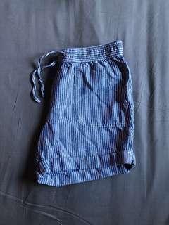 White & Blue Striped Shorts