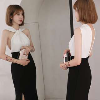 evening dress skirt female 2018 new summer party noble and elegant sexy fishtail long party dress was thin