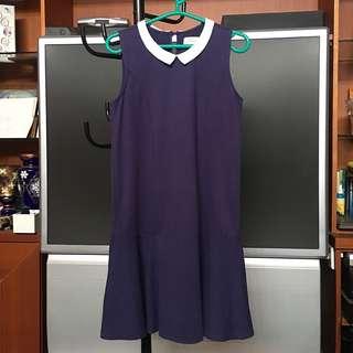 PADINI Navy Blue Collar Dress