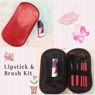 Avon Ultra Color Rich Lipstick + Red Make-up Brush Kit/Set (5pcs)