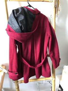 Red Coat Hood Button Up Size 12