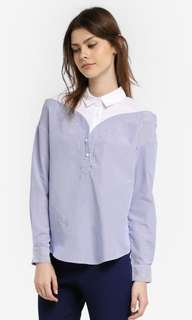 Zalia Zalora Mock Off Shoulder Stripe TOP in blue and white