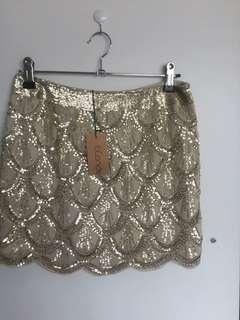 Gold sequinned skirt