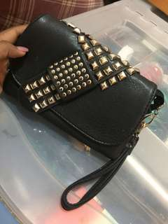 Black stud 2 in 1 clutch and purse