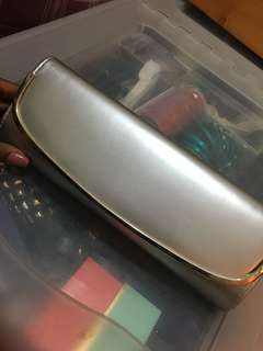 Silver clutch and purse