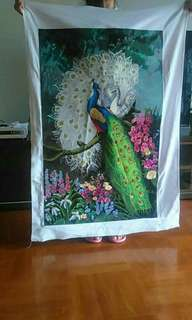 peacock cross stitch ready to frame ..