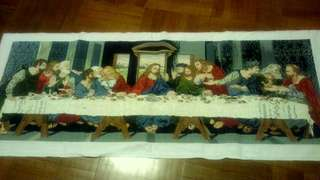 last supper cross stitch ready to frame