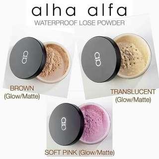 Alha Alfa Waterproof Super Stay Fixing Powder - Matte/Glow Finishing