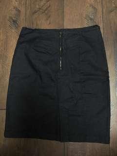 High waisted dark jean skirt