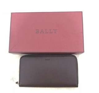 Bally zip wallet maroon