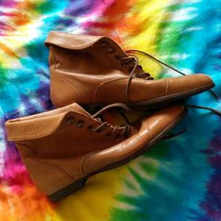 Vintage Sportsgirl brown leather boots size 7
