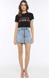 Zip front denim mini skirt