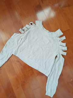 F21 cut out sleeve beige sweater