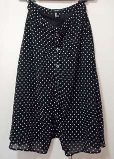 Preloved Forever21 Black Polka Dots Skirt