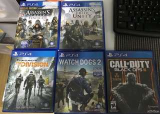 Used PS4 Games (Tom Clancy's The Division, Call of Duty Black ops III