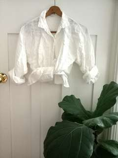 Vintage embroidered white shirt