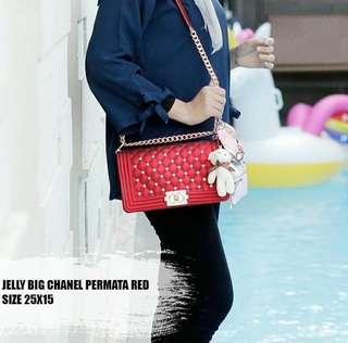 Slingbag Jelly Chanel Permata Merah