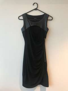Guess XS Black Cut Out Front Dress Faux Leather Gold Zip Bodycon