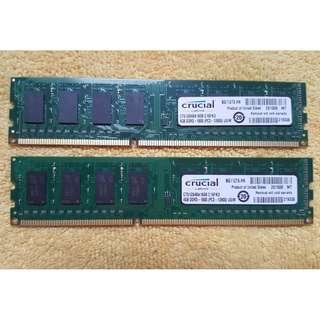 Crucial ddr3 8gb (4gb x2) 1600mhz desktop memory