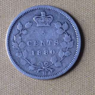 1880 Canada 5 Cents coin.