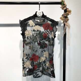 🚚 Europe and the United States stitching perspective embroidery flower sleeveless top