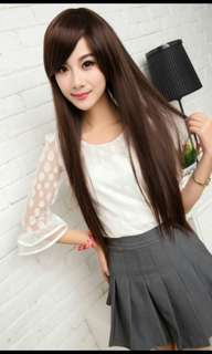(NO INSTOCKS!) Best selling😍'Preorder' Neat & long side fringe straight ladies wig * waiting time 15 days after payment is made *Chat to buy if int