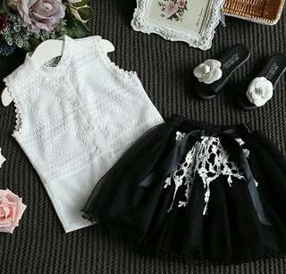 3T-7years black shimmering skirt with white top set
