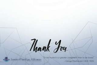 Customized corporate thank you cards - insurance agents etc